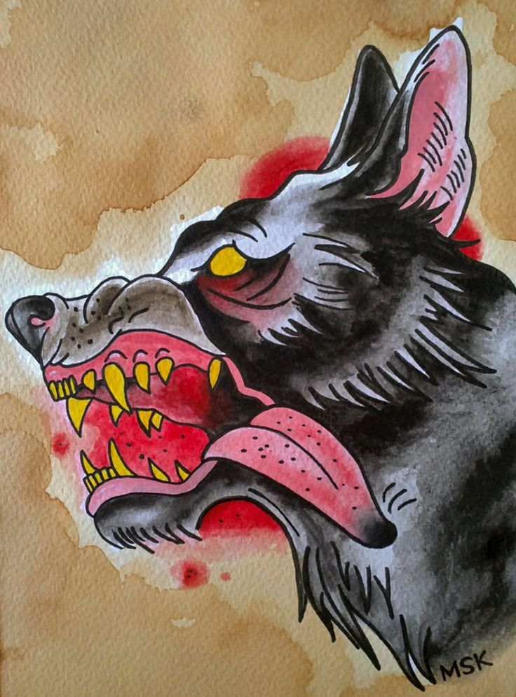 Traditional tattoo wolf neo traditional traditional for Classic american style