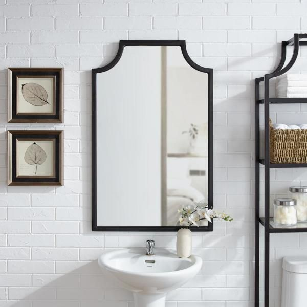 Crosley Furniture Aimee 24 In W X 38 In H Framed Novelty Specialty Bathroom Vanity Mirror In Oil Rubbed Bronze Cf6200 Bz The Home Depot Bath Mirror Black Wall Mirror Oil Rubbed Bronze