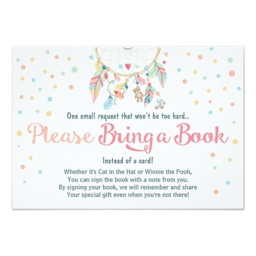 BRING A BOOK Pastel Colorful Boho Feathers Dreamcatcher Chic Dots BABY SHOWER Invites Announcements Invitations~Order 25 invites and save 15% or order 50 invites and save 25%~ What a DEAL!!