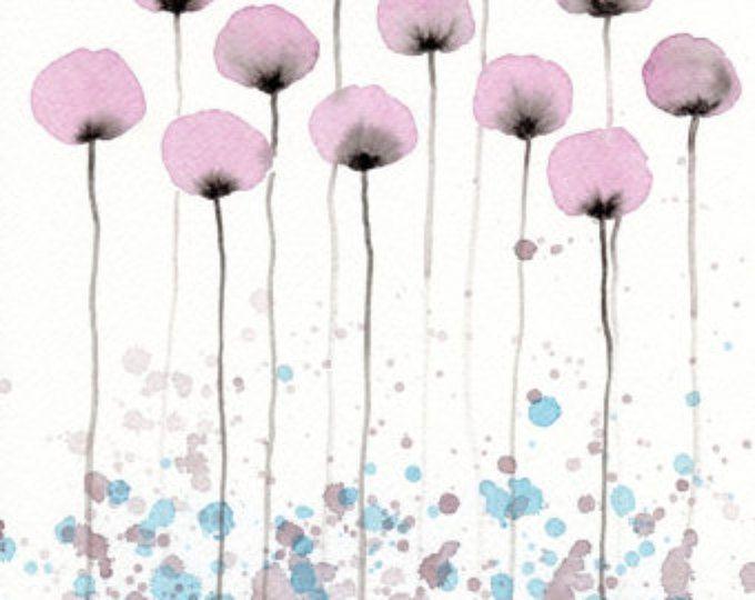 Pittura ad acquerello: Pittura ad acquerello fiore - stampa artistica - Hush - fiori rosa - 8 x 10