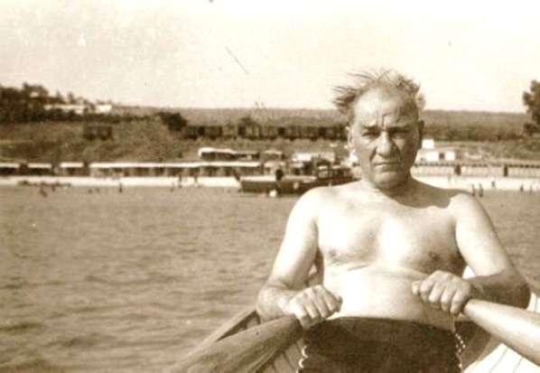Mustafa Kemal Ataturk, rowing along the Florya shore in Istanbul, Turkey.