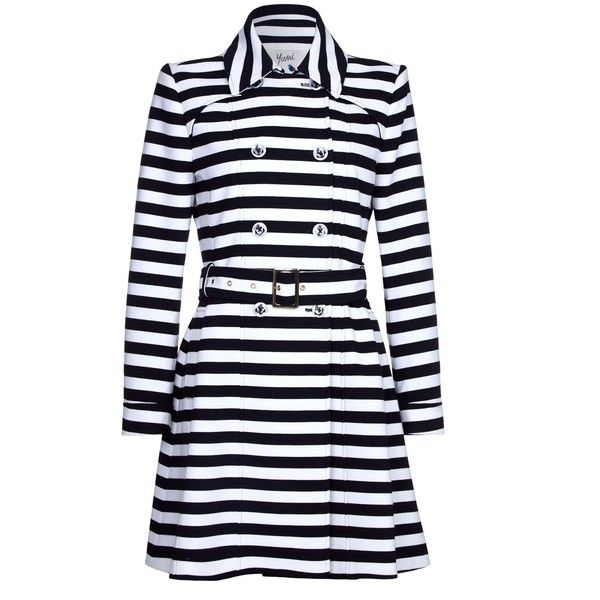 Yumi Stripe Trench Coat (£90) ❤ liked on Polyvore featuring outerwear, coats, women coats & jackets, trench coat, stripe coat, double-breasted trench coats, striped coats and striped trench coat