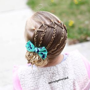 """Alicia on Instagram: """"Today we recreated a style from @prettylittlebraids We made 6 ponies with slightly diagonal parts. Then split the ponies in 3 sections and braided them. And combined all the hair into a side messy bun. #messybun #ponytail #braids #braidsfordays #toddlerhairstyles #toddlerhair #kidhair #kidhairstyles #Prettylittlebraidsgiveaway"""""""