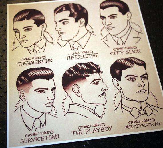 1920's Gentlemen's Hairstyle Guide 11x11.5 by ParlorTattooPrints