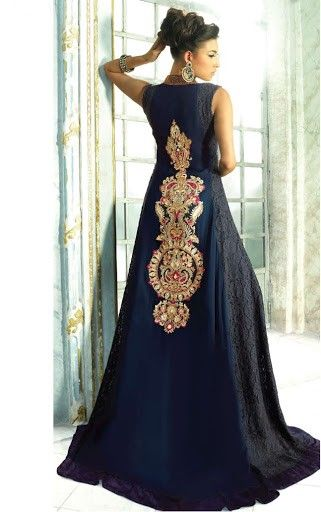 Steel Blue Color Long Anarkali Salwar Kameez ...now go forth and share that BOW & DIAMOND style / knowledge ppl! Lol ;-) xx