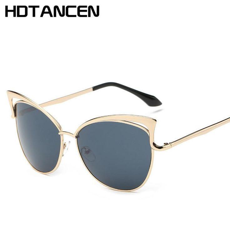 HDTANCEN Fashion Cat Eye luxury Sunglasses Women Brand Designer Twin-Beam Mirror Men Vintage Female oculos de so