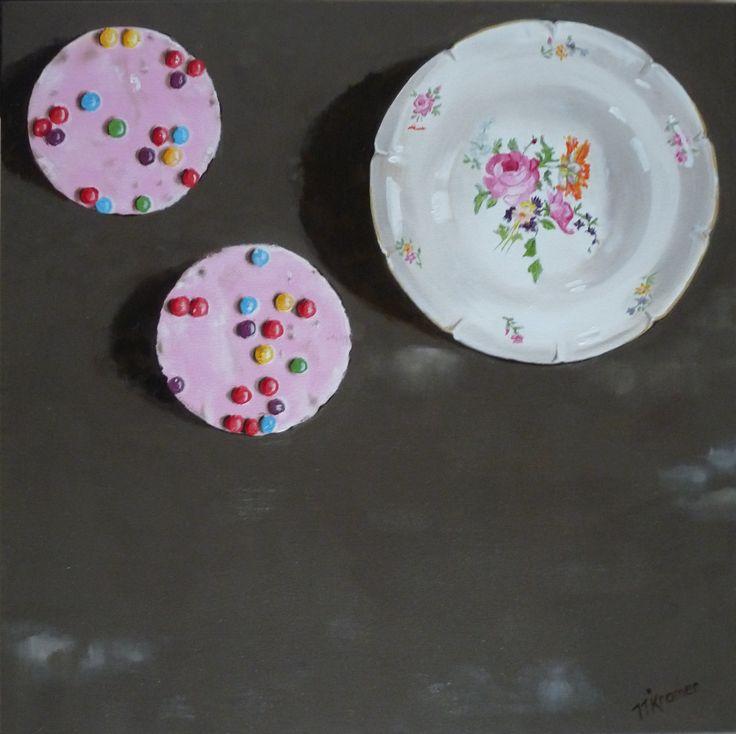 Schilderij servies met confettini's, 50 x 50.