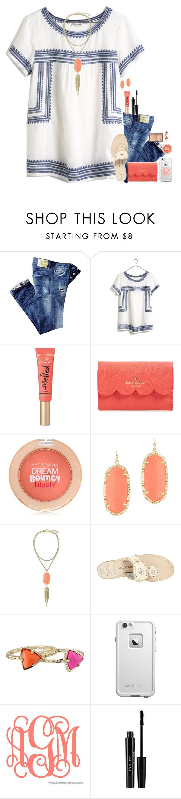"""Abby!"" by sdyerrtx ❤ liked on Polyvore featuring Madewell, Too Faced Cosmetics, Kate Spade, Maybelline, Kendra Scott, Jack Rogers, LifeProof, Inglot and Urban Decay"