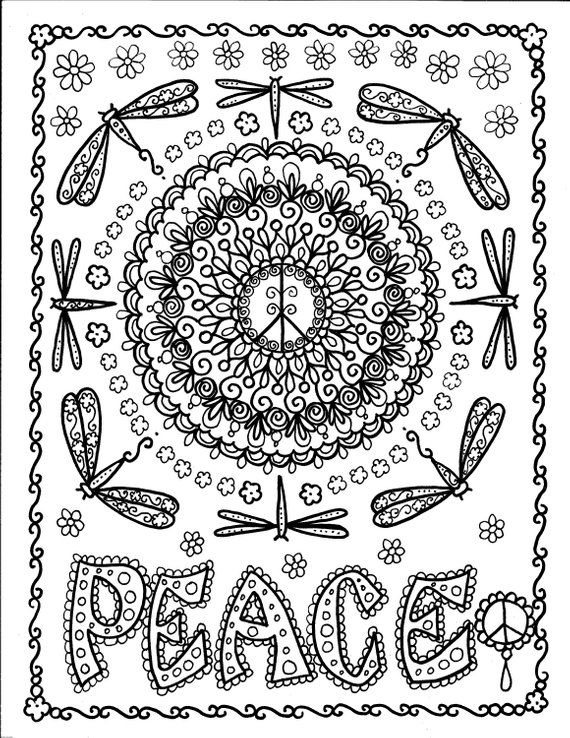 Peace 5 Pack Coloring Pages Digital Instant Download Peace Etsy Coloring Pages Coloring Books Mandala Coloring Pages