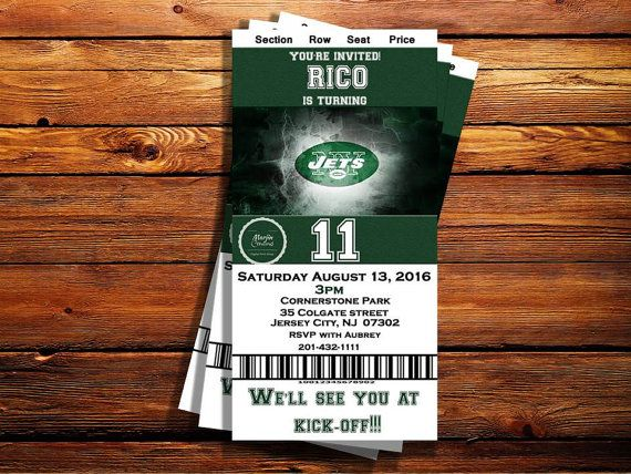 Check out this item in my Etsy shop https://www.etsy.com/listing/455822514/ny-jets-ticket-birthday-invitation-can
