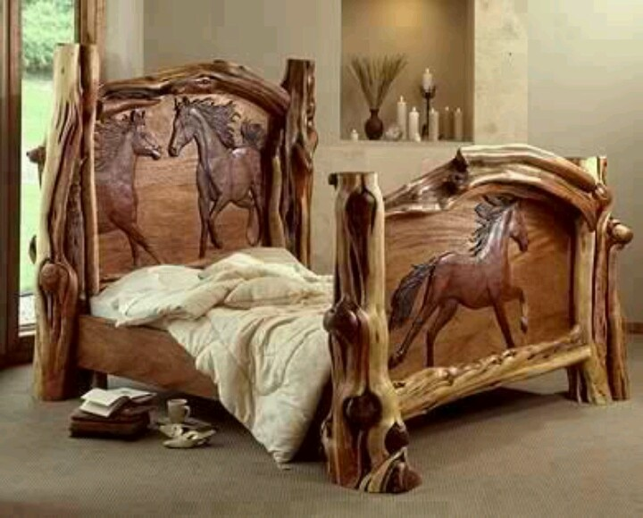Custom Horse Carved Wood Bed Cowgirl Up