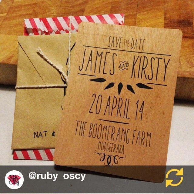 Regram @ruby_oscy: Save The Date. Printed on sheets of wood! @printonwood #wedding #invite #invitation #savethedate #graphicdesign #brisbane #twine #follow #regramapp