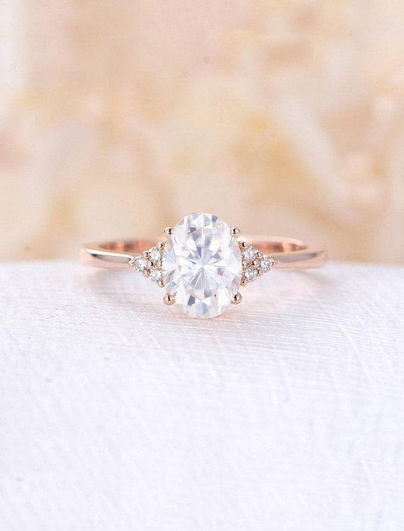 Moissanite Engagement Ring Rose Gold Engagement Ring Vintage Diamond