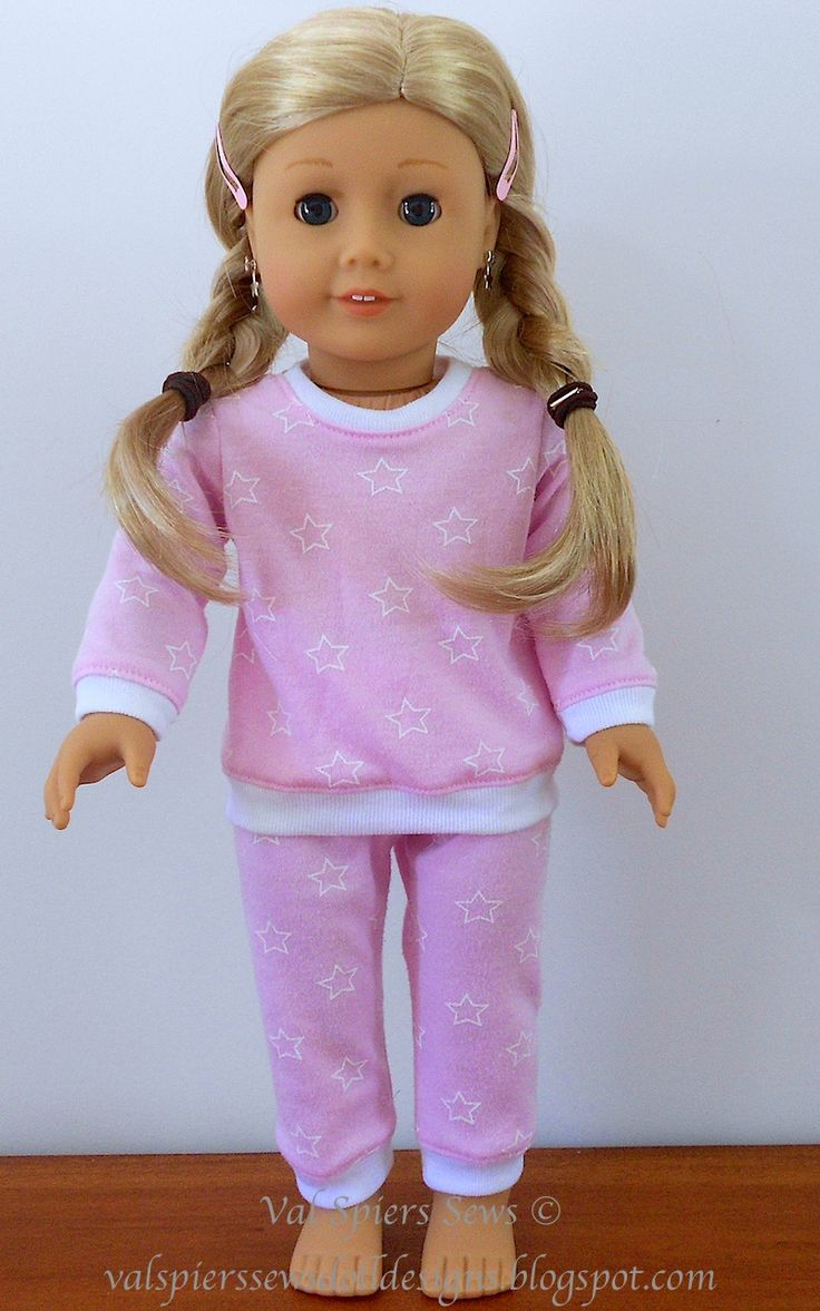 How to make doll pyjamas for American Girl Doll using doll clothes patterns 1801 and 1813.
