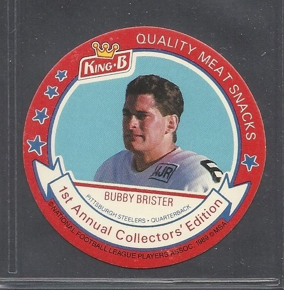 1989 King B Football Disc - #24 - Bubby Brister - Pittsburgh Steelers
