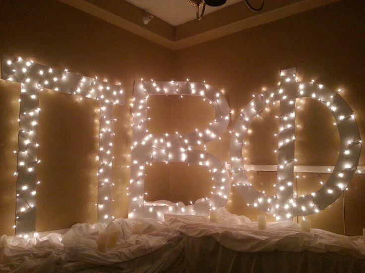 We could use a set of letters and put them in the living room with lights on them. Or on the lawn