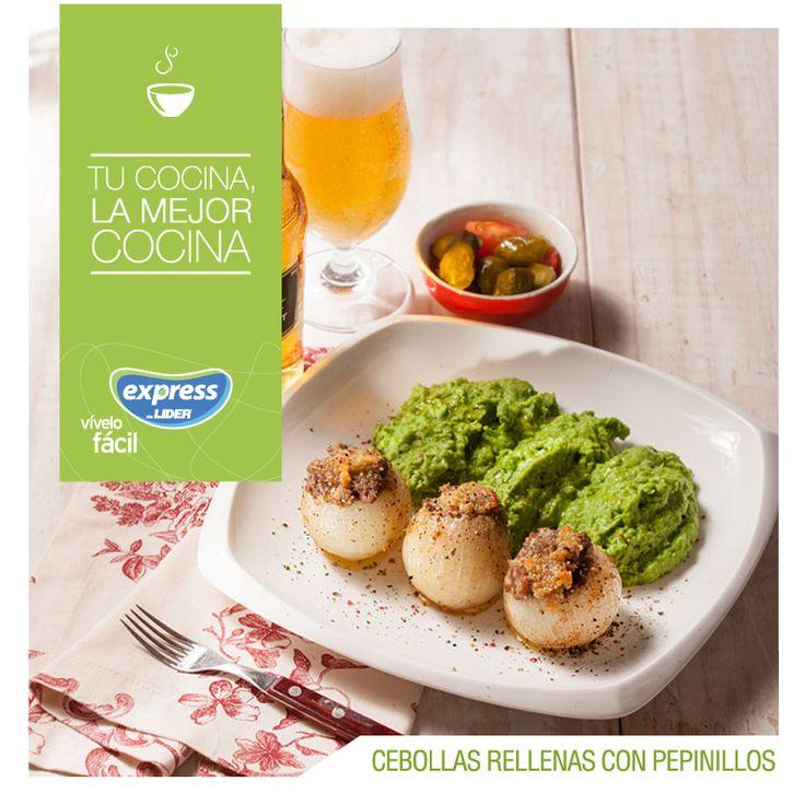 Cebollas rellenas con pepinillos  #Recetario #Receta #RecetarioExpress #Salad #Lider #Food #Foodporn  #Pepinillos #Cebollas #Beer