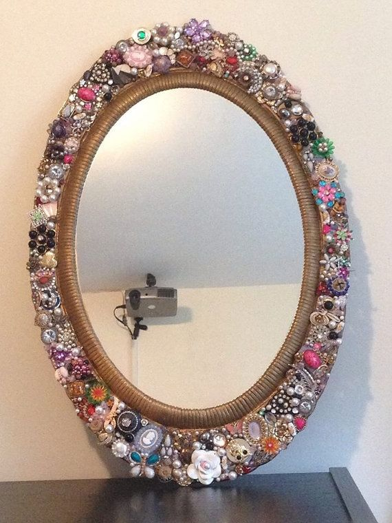 Large vintage embellished deco jewelry wall mirror for Embellished mirror frame
