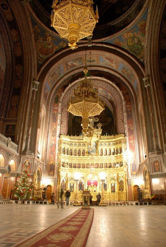Orthodox Cathedral interior, Timisoara, Romania.