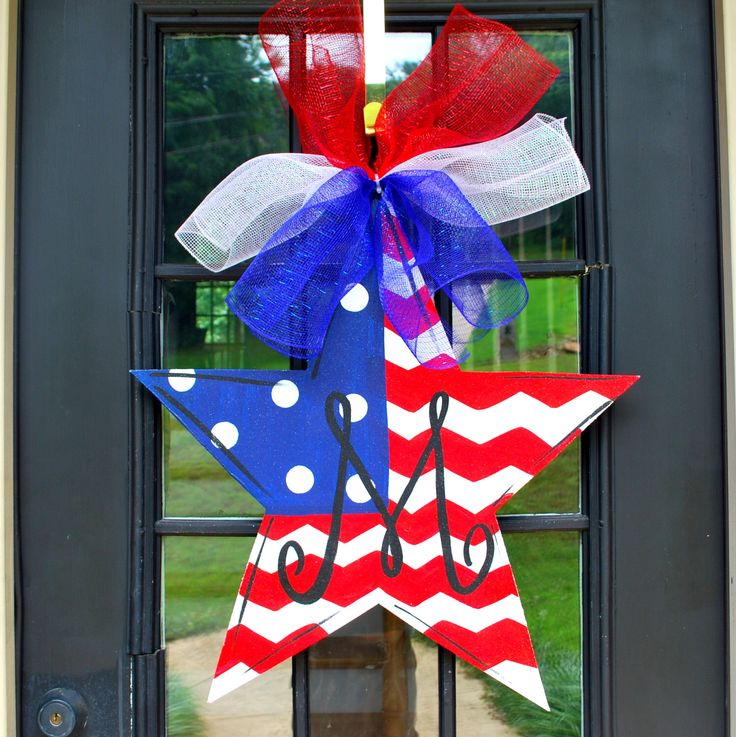 Fourth of July Door Hanger, 4th of July Wreath, Patriotic Wreath, Patriotic Star Door Decoration by LooLeighsCharm on Etsy https://www.etsy.com/listing/155003206/fourth-of-july-door-hanger-4th-of-july