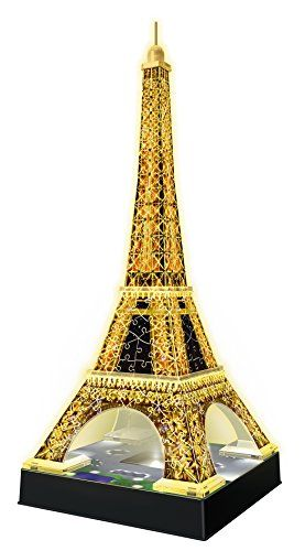 Ravensburger 12579 - Eiffelturm bei Nacht - 216 Teile 3D-Puzzle-Bauwerk Night Edition