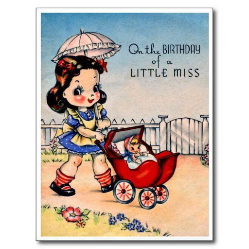 """Weinig Wandelwagen van de Misser en van Doll - Retro Gelukkige Briefkaart van de Verjaardag De vintage Retro Kaarten van de Verjaardag voor alle leeftijden. De grappige, Leuke, Gelukkige Kaarten van de Verjaardag voor kinderen, meisjes en jongens, mamma's en dads, grootmoeder en grootvader, broers en zusters, tantes en ooms, neven… en voor vrienden. Alle kaarten zijn hersteld, de hersteld de smetten, vlekken en de scheur. Personaliseer als u door te gebruiken """"aanpast het"""" knoop dit wenst…"""