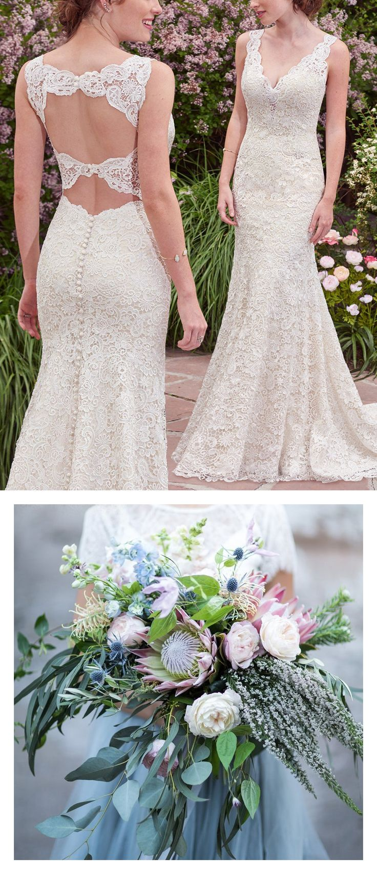 9 Bouquets For Your Boho Wedding Gown - Lace boho wedding dress with double keyhole back Hope by Rebecca Ingram. Photo: Tyler Rye Photography | Bouquet: By Bloomers