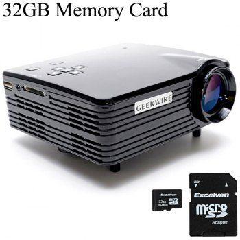 Geekwire LP-5A LCD 400 lúmenes Inicio proyector LED 20 ~ 120 pulgadas de pantalla Tamaño Soporte HDMI / VAG / USB / AV / SD de 32 GB con tarjeta de memoria TF (enchufe de la UE)