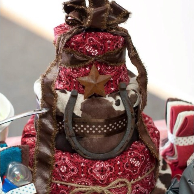 Western themed diaper cake I made for a friend.