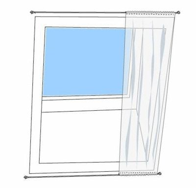 Cover a skylight with fabric and curtain wire