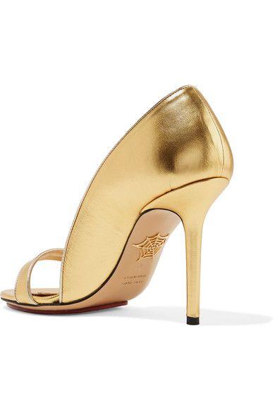 Charlotte Olympia - Christine Metallic Leather Pumps - Gold - IT38.5