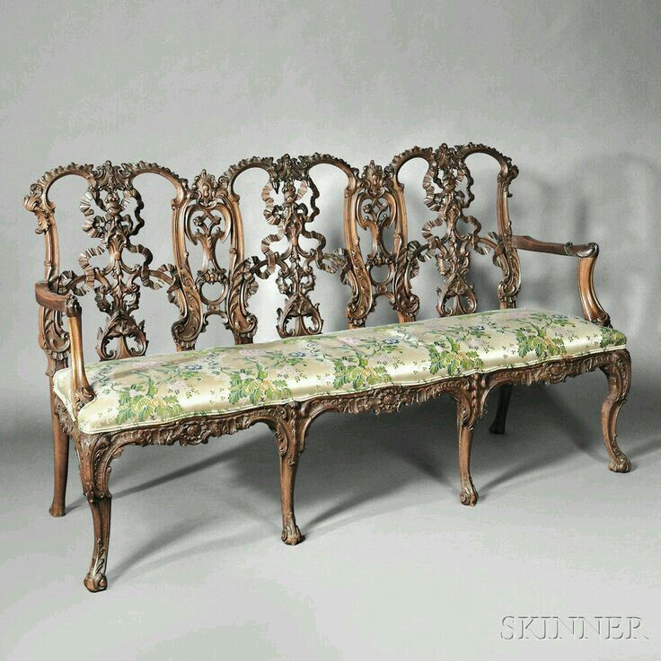 Highly Carved Mid 18th Century English Chippendale Settee. Ribbon Back Style.  | Pinterest | Settees, Couch Sofa And Antique Chairs