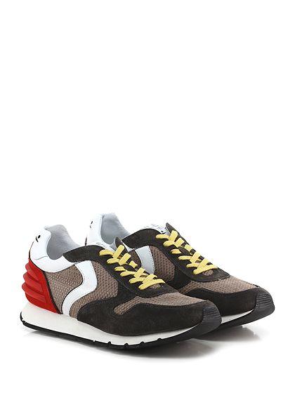 Voile Blanche - Sneakers - Uomo - Sneaker in camoscio e tessuto lavorato con inserto gommato su retro e suola in gomma, tacco 25, platform 15 con battuta 10. - ANTRACITE\TORTORA - € 198.00