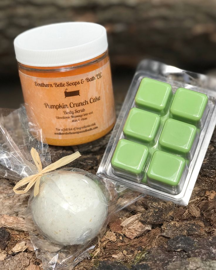 A wonderful assortment of fall scented products. Pumpkin crunch cake sugar scrub with jojoba beads, apple blossom scented 6 pack of wax tarts, and your choice of a 5 oz. bath bomb. Perfect gift for you or a friend. Sugar Scrub Ingredients - Pure cane sugar, jojoba beads, coconut oil, vitamin E, f