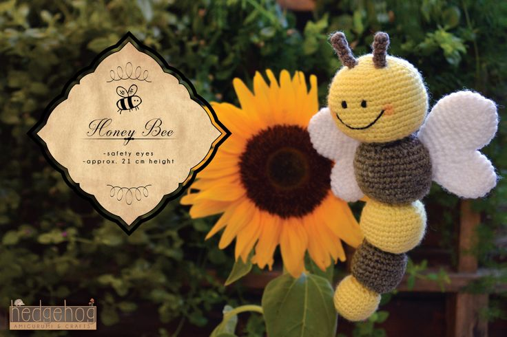 "Honey Bee amigurumi crochet toy, great for birthday gift or baby shower. Created by ""Hedgehog - Amigurumi & Crafts""."
