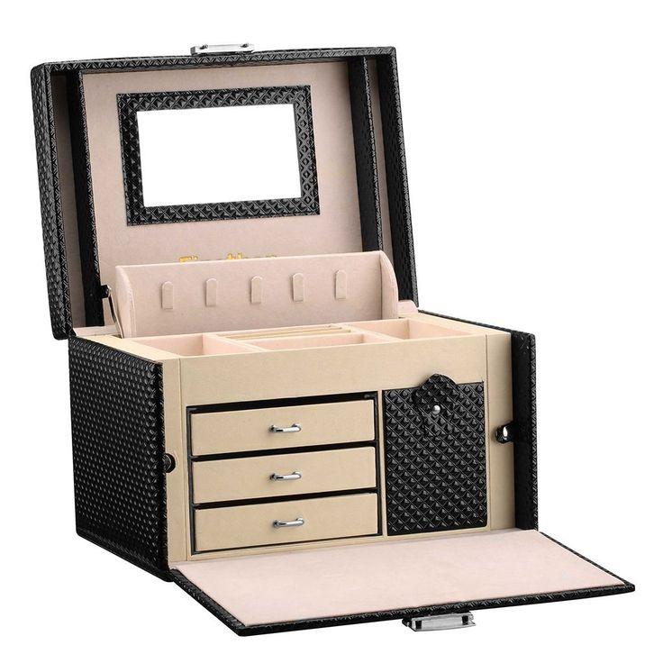 Finether-Joyero Bloqueable(Caja de joyas,Estuche Rectangular para Guardar Joyas,Pendientes,Anillos y Collares, Espejo y Cajones,Textura deDiamante,Tapa Elevable,)Negro.