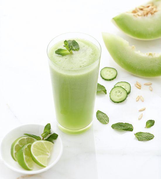 Smoothie recipe: Honeydew melon, cucumber & mint smoothie {PHOTO: Joe Kim}