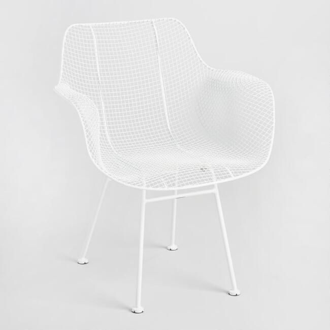 White Wire Larkin Molded Armchairs Set of 2 - v1