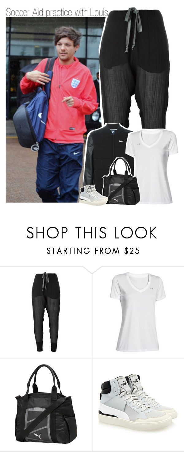 """Soccer Aid practice with Louis"" by hazzdimples ❤ liked on Polyvore featuring Lost & Found, NIKE, Under Armour, Puma, OneDirection and louistomlinson"