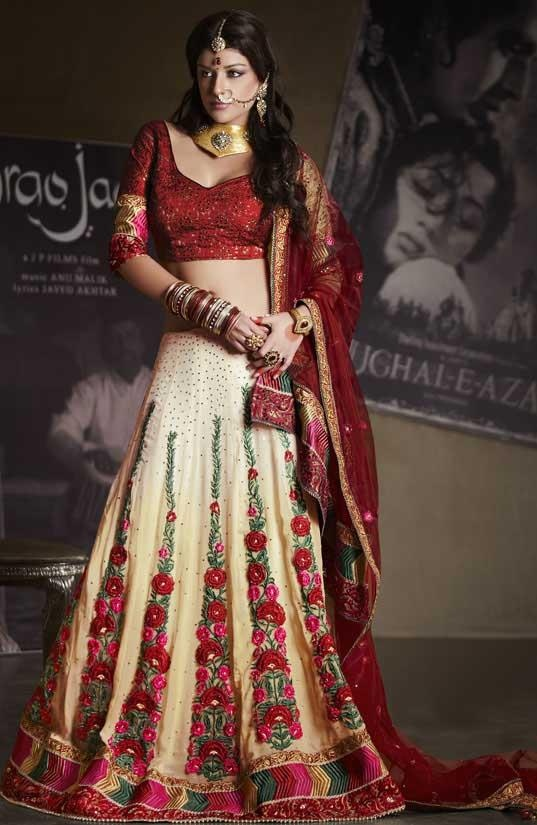 $206.99 Red Faux Georgette Chaniya Choli 20129 With Unstitched Blouse