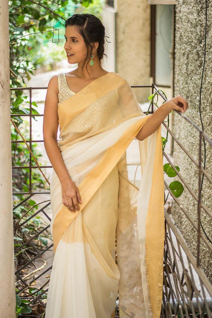 Off white and tissue cotton Kota saree with zari border and pallu detailing  #saree #blouse #houseofblouse #indian #bollywood #style #offwhite #white #cream #gold #tissue #kota #cotton #zari #border