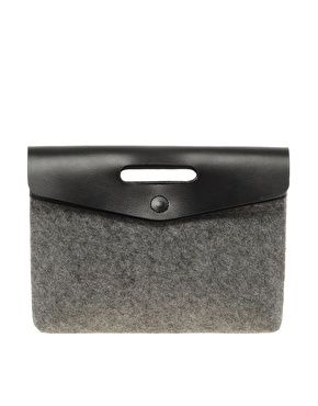 Grab Felt Clutch With Leather Flap - By ASOS collection