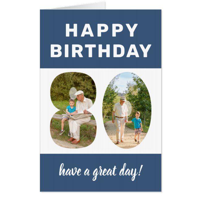 Photo Number Blue Border Giant 80th Birthday Card Zazzle Com 80th Birthday Cards Happy Birthday Dad Birthday Cards