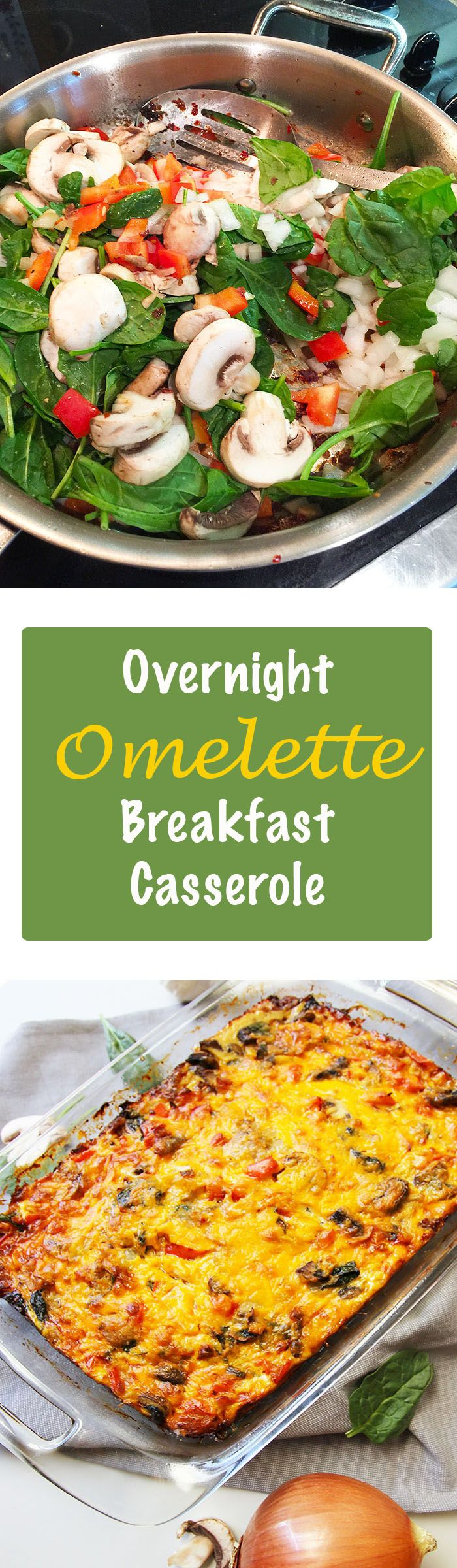 A shortcut to making omelettes for a group. Loaded with meat, cheese, eggs, and veggies, this breakfast casserole is both delicious and satisfying!