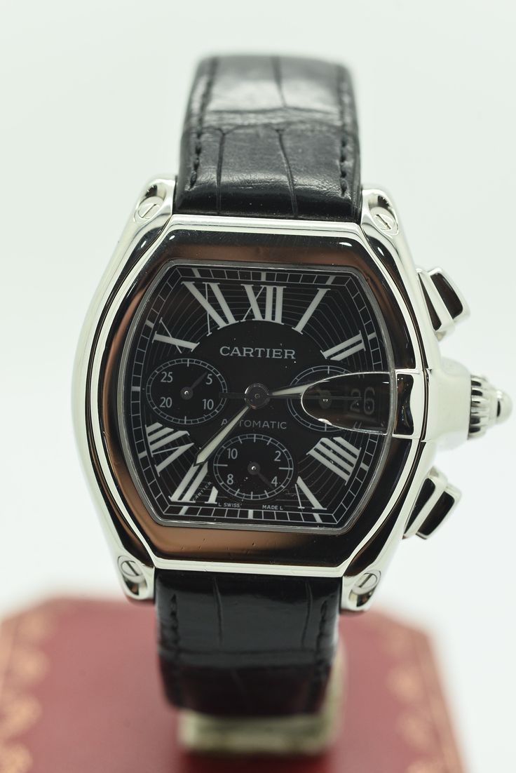 CARTIER ROADSTER CHRONOGRAPH BLACK Stainless Steel Genuine Leather Mechanical (Automatic) WATCH