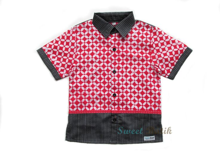 A combination of Batik and Tenun fabrics from Sweet Batik #Batik #Indonesia #Handmade #Kids_Clothes #Boy_Shirts