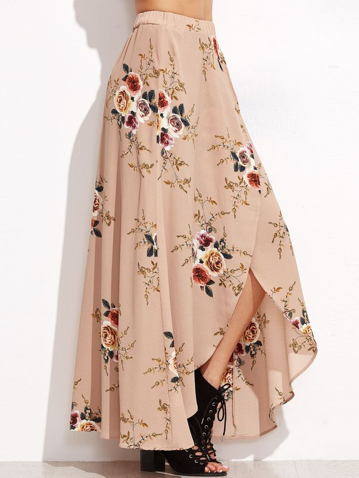 Online shopping for Pink Rose Print Asymmetric Wrap Maxi Skirt from a great selection of women's fashion clothing & more at MakeMeChic.COM.