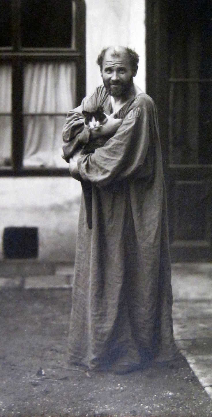 Moriz Nähr, Gustav Klimt mit Katze, 1911, Fotografie, © Wien Museum