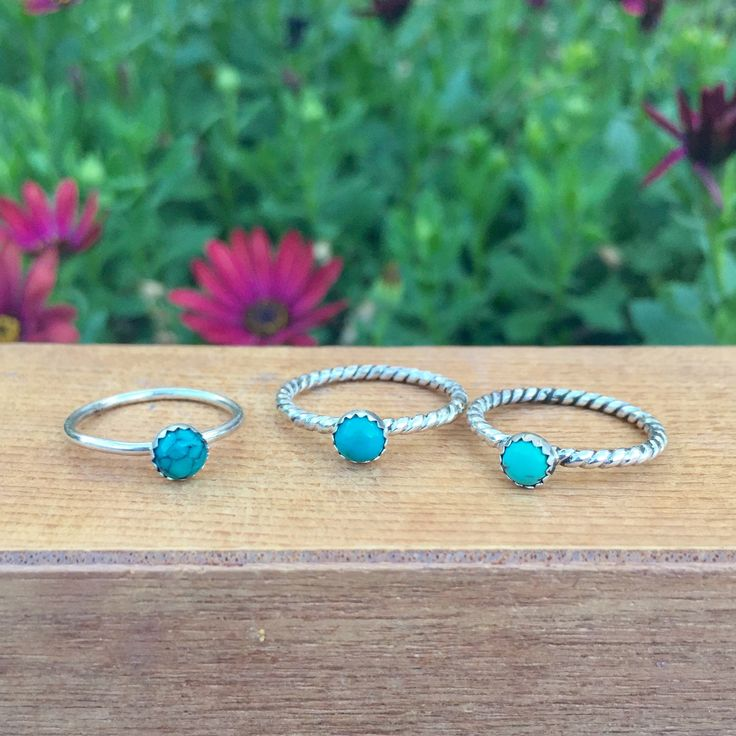 Turquoise Stack Ring / Sterling Silver Ring / Little Turquoise Stack Ring / Small Turquoise Stacking Ring / Silver Turquoise Stackable Ring by GemAndTonik on Etsy https://www.etsy.com/au/listing/587555401/turquoise-stack-ring-sterling-silver