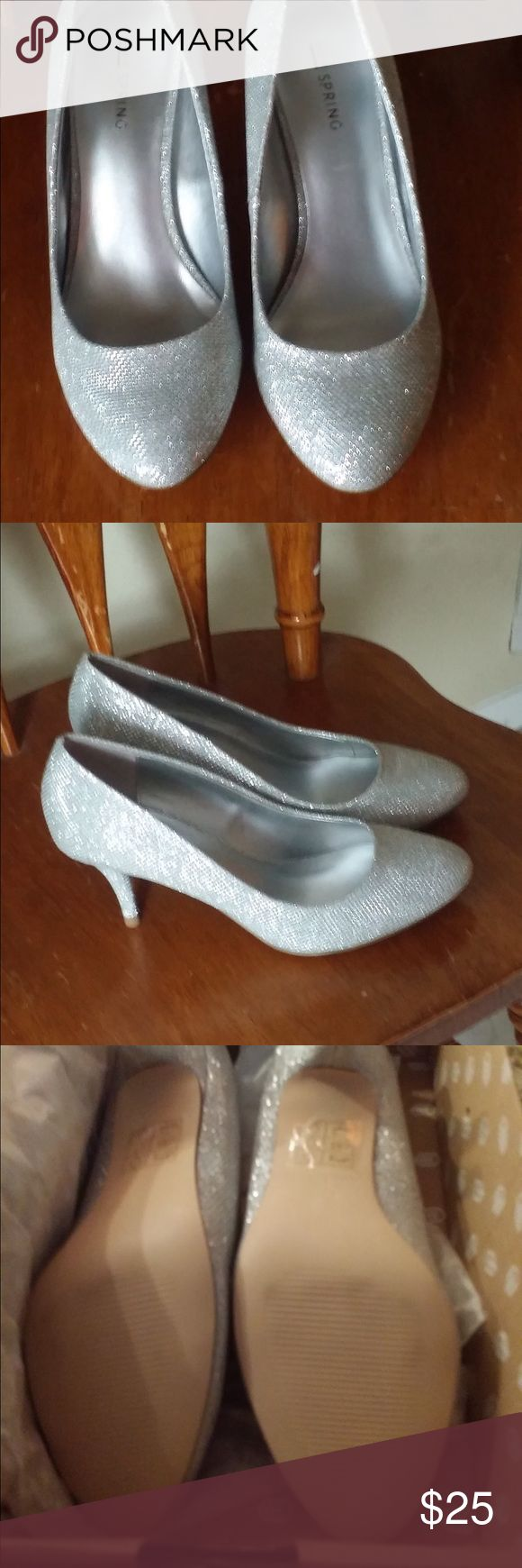 Silver heels, new with tags Glittery silver. Size 8. JCPenney. New with tags. Short heel. Shoes Heels